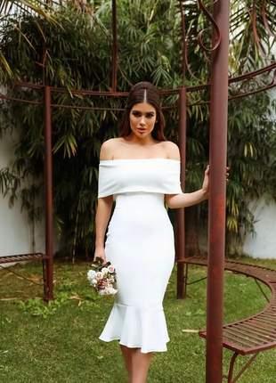 Vestido branco midi off white tubinho casamento civil