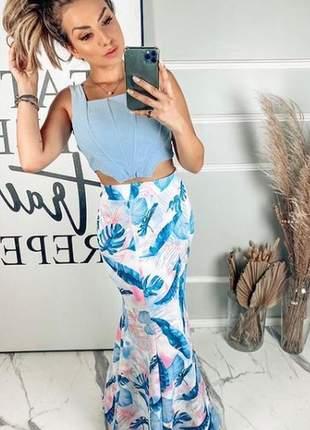 Conjunto luxo de saia longa e cropped