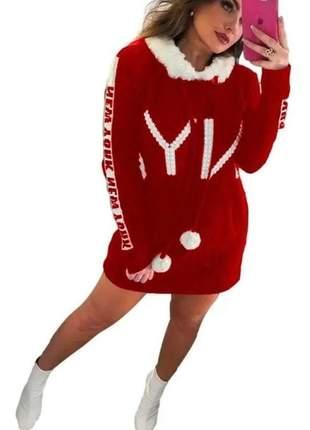 Vestido de tricô tricot curto manga longa estampado