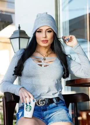 Blusa manga longa decote em v com tiras moda outono inverno tendência blogueira