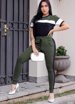 Loucura conjunto malha crepe calça e blusinha ideal para o verão cod.cga