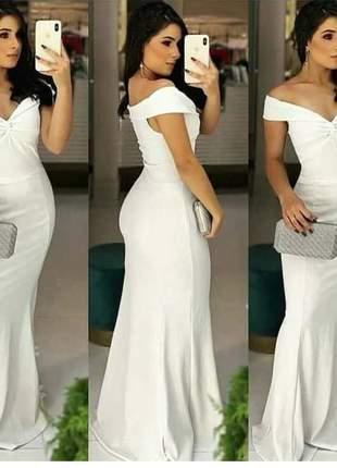Vestido de festa noiva casamento civil longo madrinha branco coral
