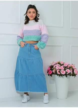 Saia midi jeans modelo três marias