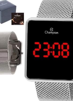 Relógio digital unissex champion ch40080t quadrado prata