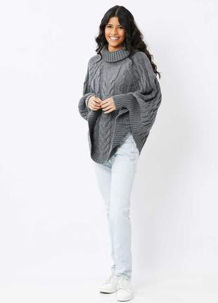 Poncho ralm com tranças - cinza