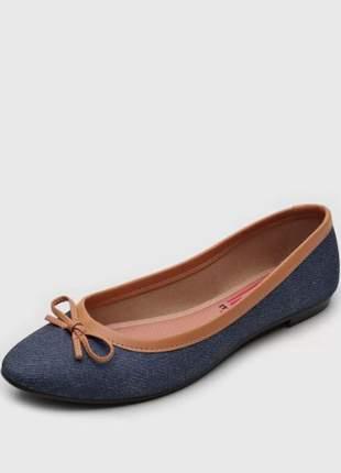 Sapatilha feminina jeans/areia laço moleca 5723101