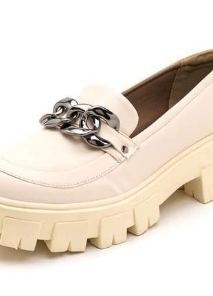 Sapato west oxford tratorado com detalhe em corrente feminino confortável ref 190253