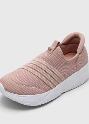Tênis slip comfortflex solado alto feminino rosa claro 2162302