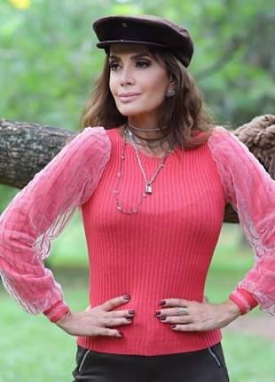 Blusa manga longa rosa de tricô com tule na manga comprida tendência tricot