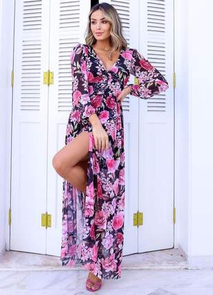 Vestido longo de festa floral em tule