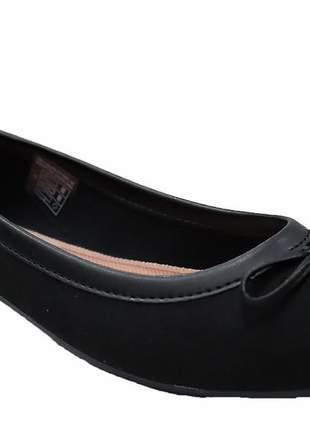 Sapatilha feminina preto camurça laço moleca 5723101p
