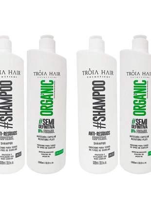 Kit 2 progressiva semi definitiva organic tróia hair s/formol 2x1l
