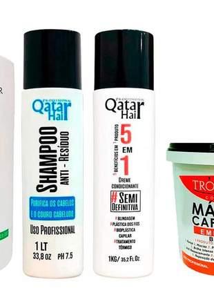 Kit 4 em 1 troia hair progressiva organic + definitiva + hidratação