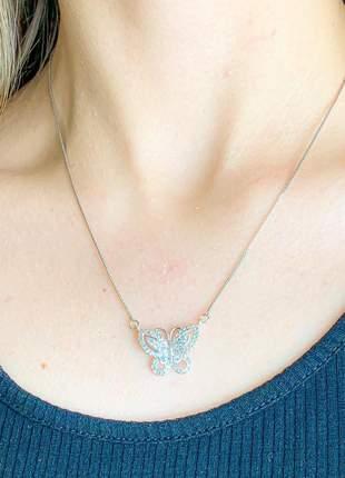Colar borboleta cravejada de zircônias cristais banhado a ródio branco
