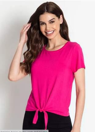 Blusa manga curta amarração pink feminina 915205558