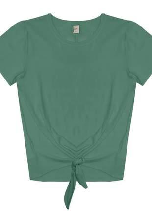 Blusa manga curta amarração verde feminina 915205736