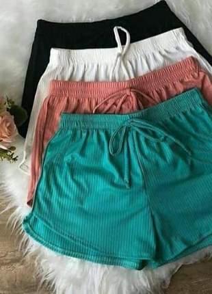Shorts canelado elástico na cintura moda meninas
