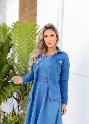 Jaqueta jeans  tradicional com bolso| moda evangélica | moda feminina | moda secretária