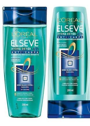 Kit shampoo + condicionador anti-caspa l'oréal paris elseve hydra-detox 200ml