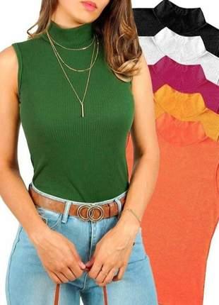 Blusa feminina   gola alta sem manga  malha canelada com elastano