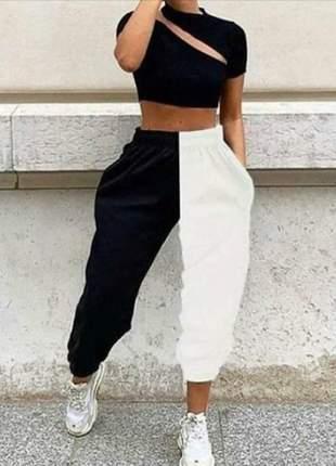Calça moletom feminina jogger duas cores meio a meio  blogueira
