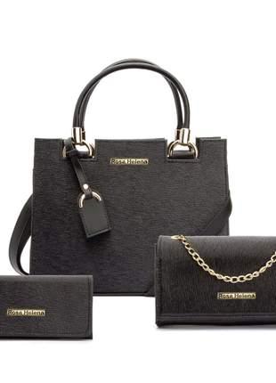 Bolsa feminina 3 em 1, bolsa castelo grande, bolsa festa corrente e carteira