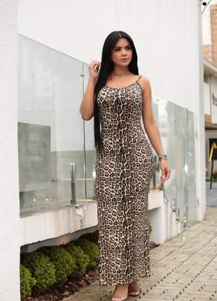 Vestido longo tubinho alça fina com  animal print com elastano