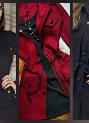 Casaco jaqueta parka manga longa tecido bengaline