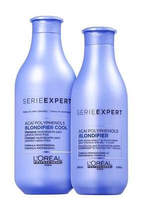 Kit matizante blondifier cool shampoo e condicionador l'oréal professionnel