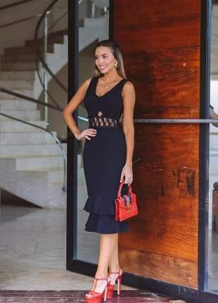 Vestido preto midi elegante