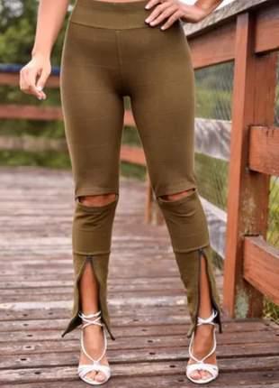Calça skinny feminina bandagem