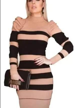 Vestido tricot marron