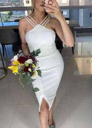 Vestido  branco off white elegante casamento civil ou noivado batizado