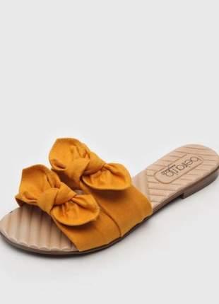 Rasteira camurça amarelo feminina beira rio 8350229