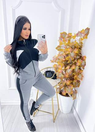 Conjunto feminino calça e blusa manga longa