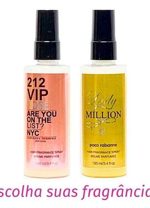 Kit 2 perfumes de cabelo importado 212 vip rosé e lady million 100ml cada