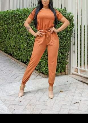 Conjunto feminino calça e blusa suede