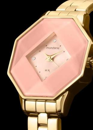 Relógio mondaine dourado rosa strass octágono original