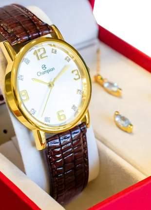 Relógio feminino champion original couro kit colar e brincos