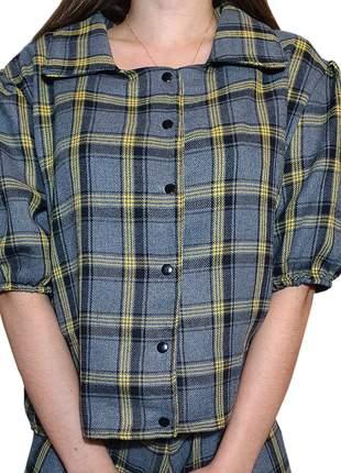 Camisa xadrez cinza comfy loy