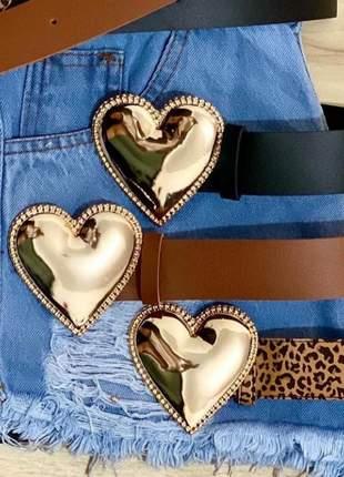 Cinto feminino fivela de coração