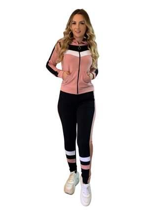 Conjunto feminino calça e blusa c/ capuz