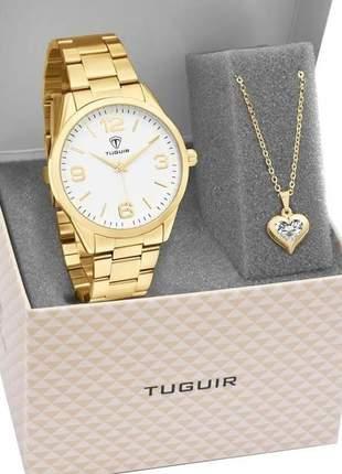 Kit relógio feminino dourado com semi joia banhada a ouro 18