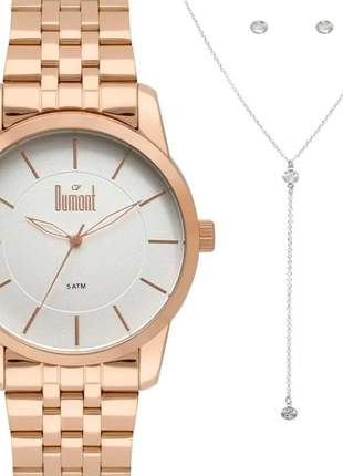 Relógio feminino dumont com semi joia