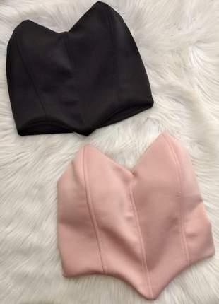 Cropped feminino tomará que caia com bojo corselet top.