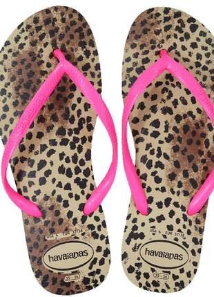 Chinelo havaianas feminino slim animals areia rosa 4103352