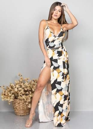 Vestido longo estampado modelo envelope