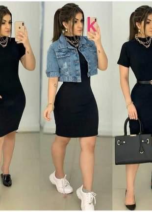 Vestido feminino curto manga curta gola alta malha canelada