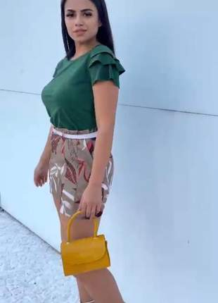 Blusa feminina manga curta babado tecido suede