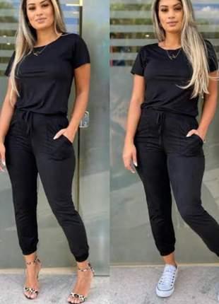 Conjunto calça jogger e blusa manga curta suede